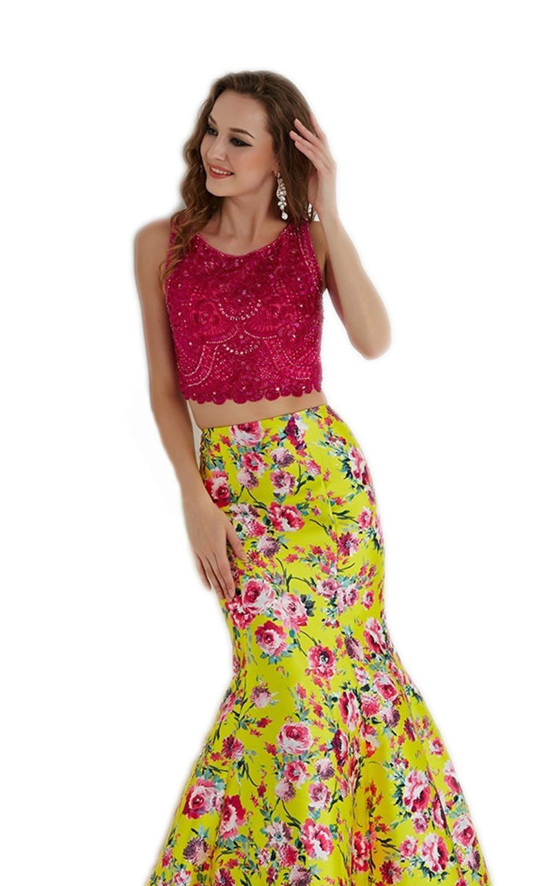 Angela and Alison 61011 Fuchsia-Yellow-Floral