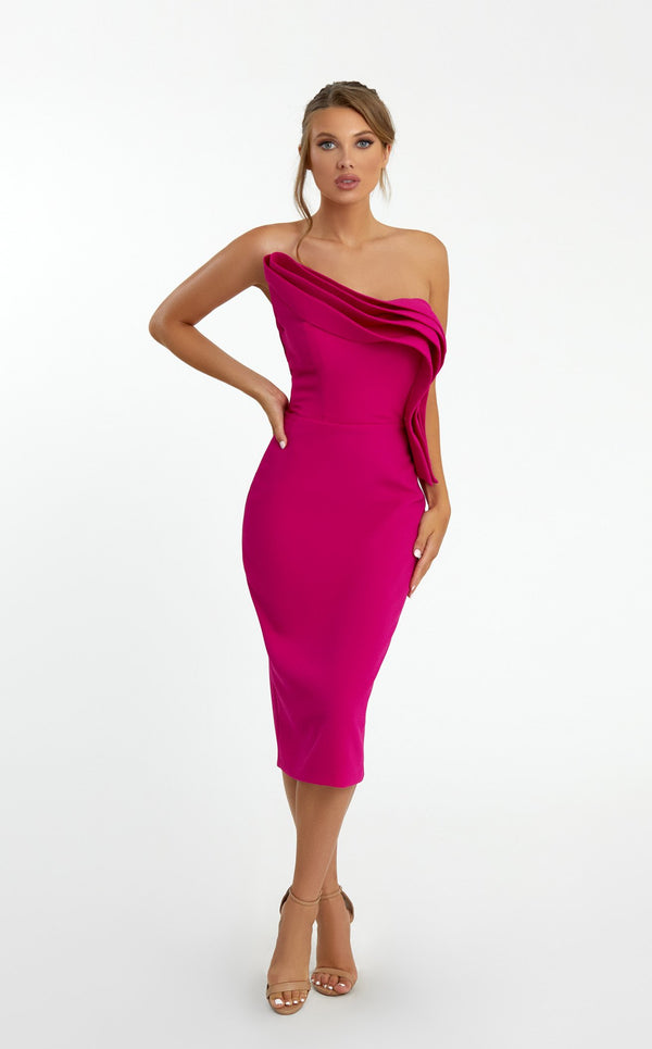 Nicole Bakti 683 Dress Fuchsia