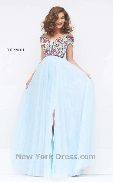 Sherri Hill 50151 Light Blue/Multi