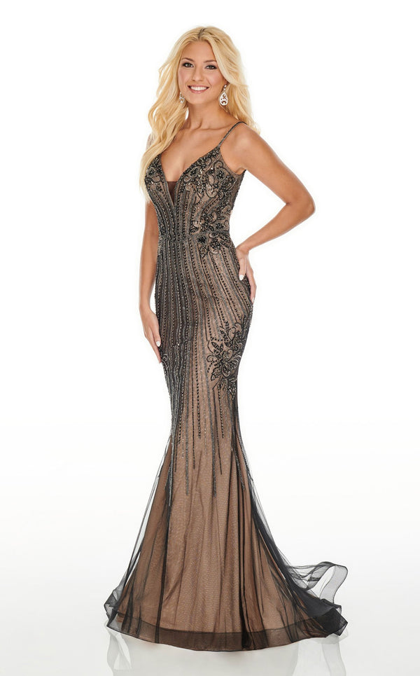 Rachel Allan 7000 Dress Black-Nude
