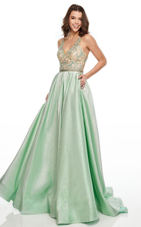Rachel Allan 7002 Dress Mint-Nude
