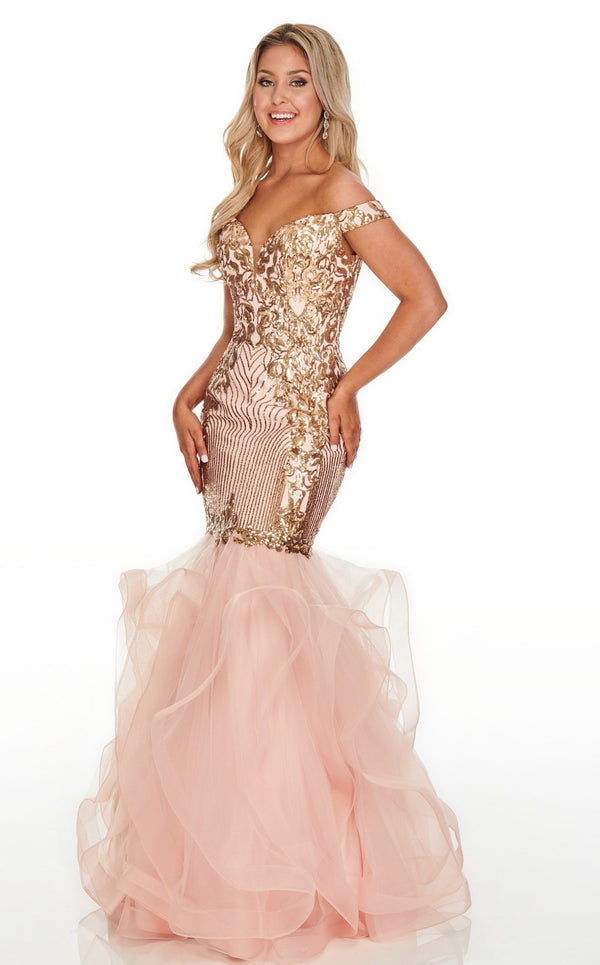 Rachel Allan 7004 Dress Blush-Gold