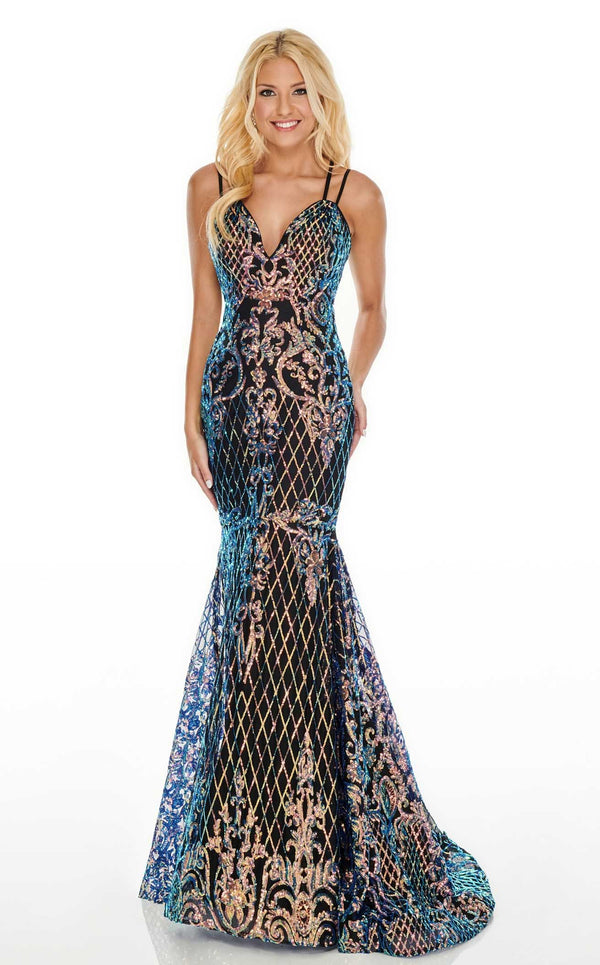 Rachel Allan 7010 Dress Black-Iridescent