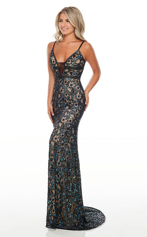 Rachel Allan 7014 Dress Black-Iridescent-Nude