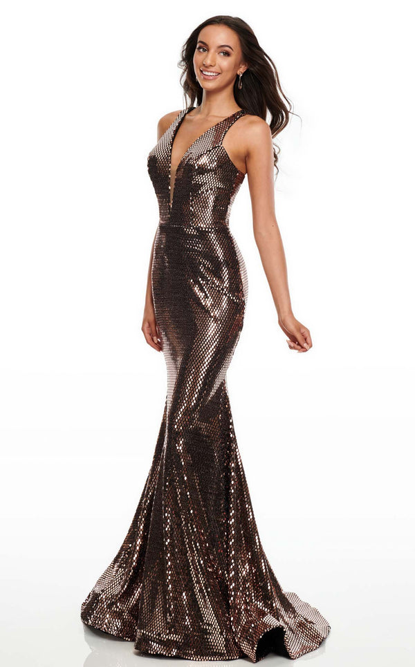 Rachel Allan 7030 Dress Rose-Gold