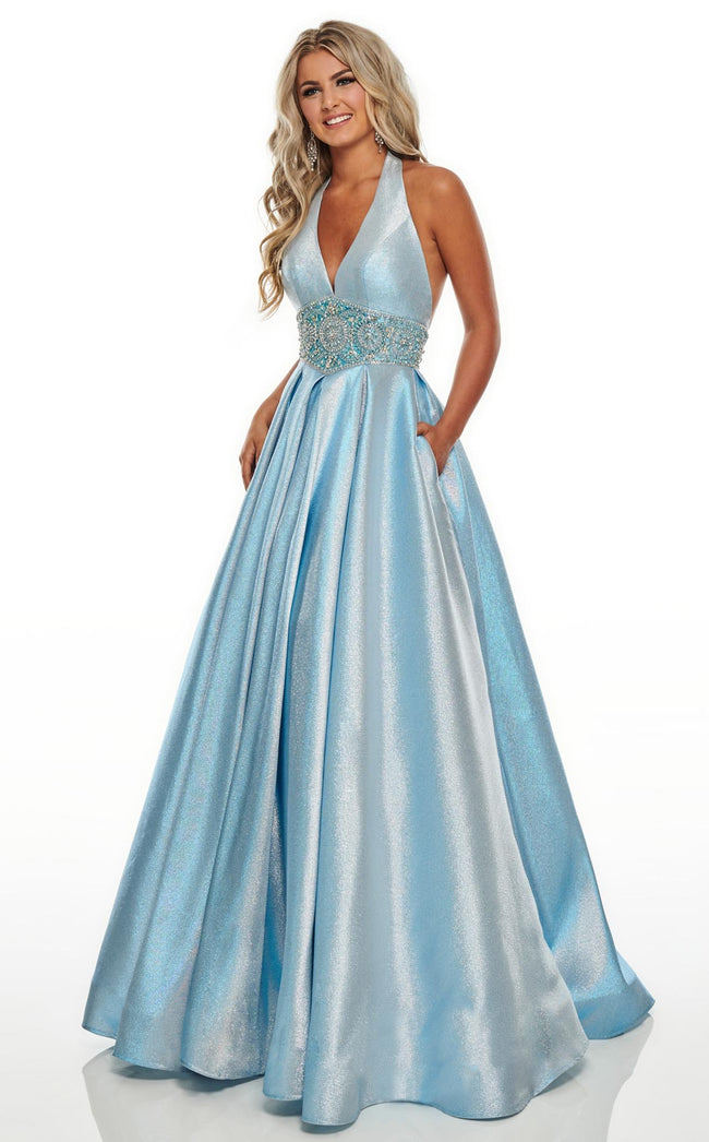 Rachel Allan 7037 Dress Light-Blue