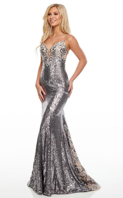 Rachel Allan 7038 Dress Gunmetal-Nude
