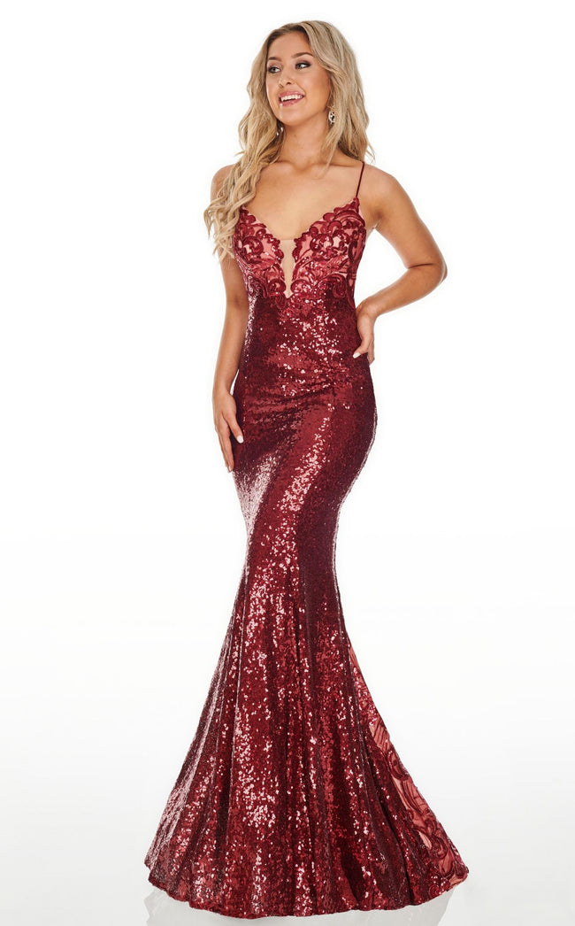 Rachel Allan 7038 Dress Marsala-Nude