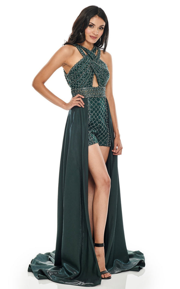 Rachel Allan 7039 Dress Hunter-Green