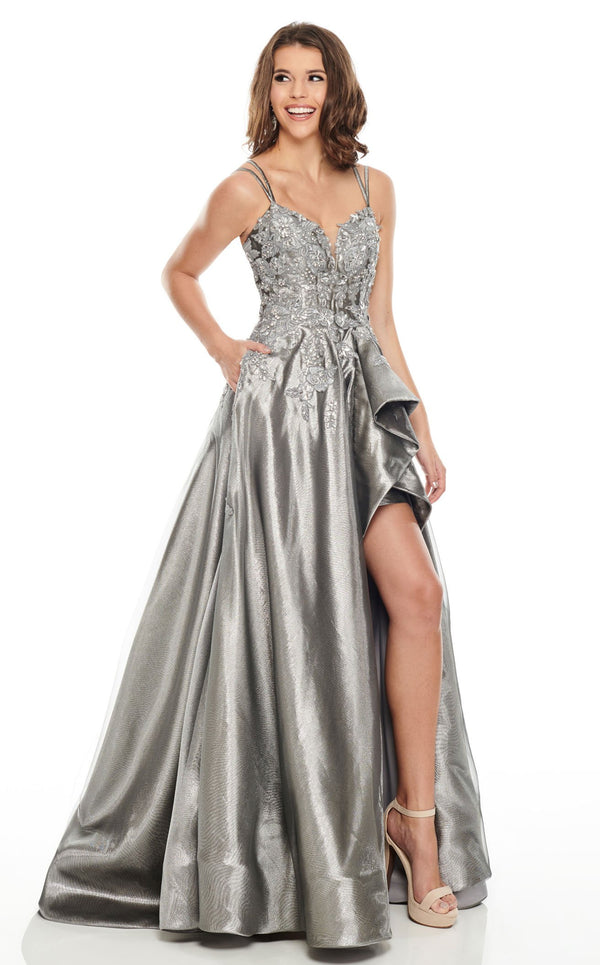 Rachel Allan 7051 Dress Gunmetal