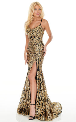 Rachel Allan 7052 Dress Black-Gold