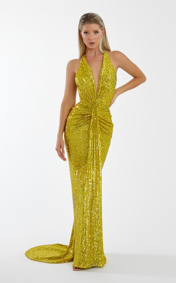 Nicole Bakti 7054 Dress Chartreuse