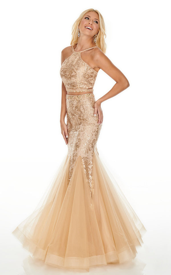 Rachel Allan 7057 Dress Deep-Champagne