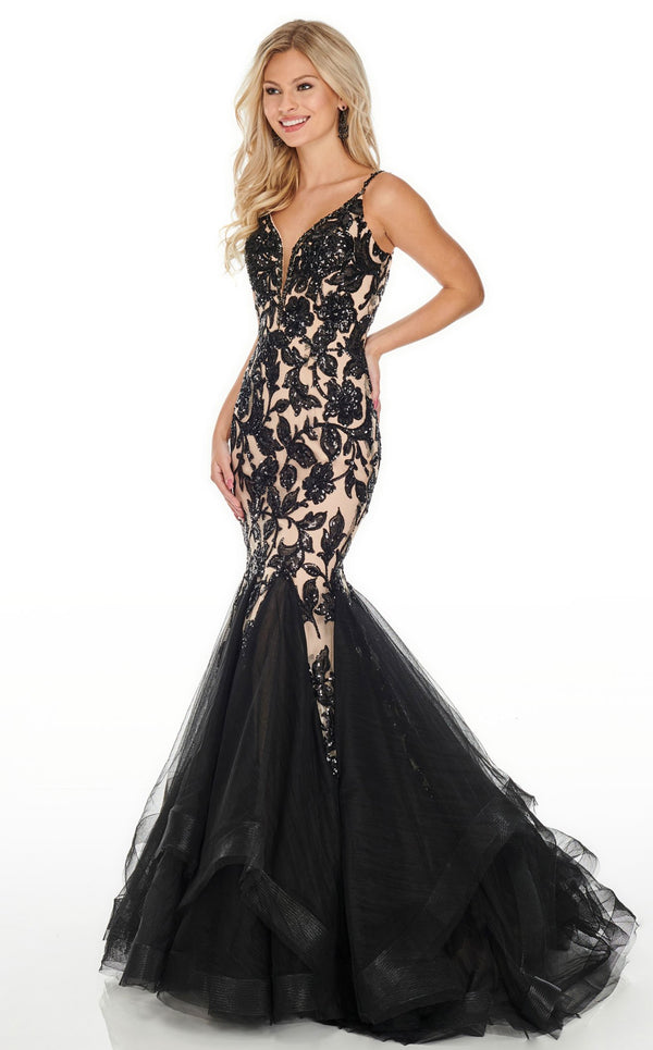 Rachel Allan 7096 Dress Black-Nude