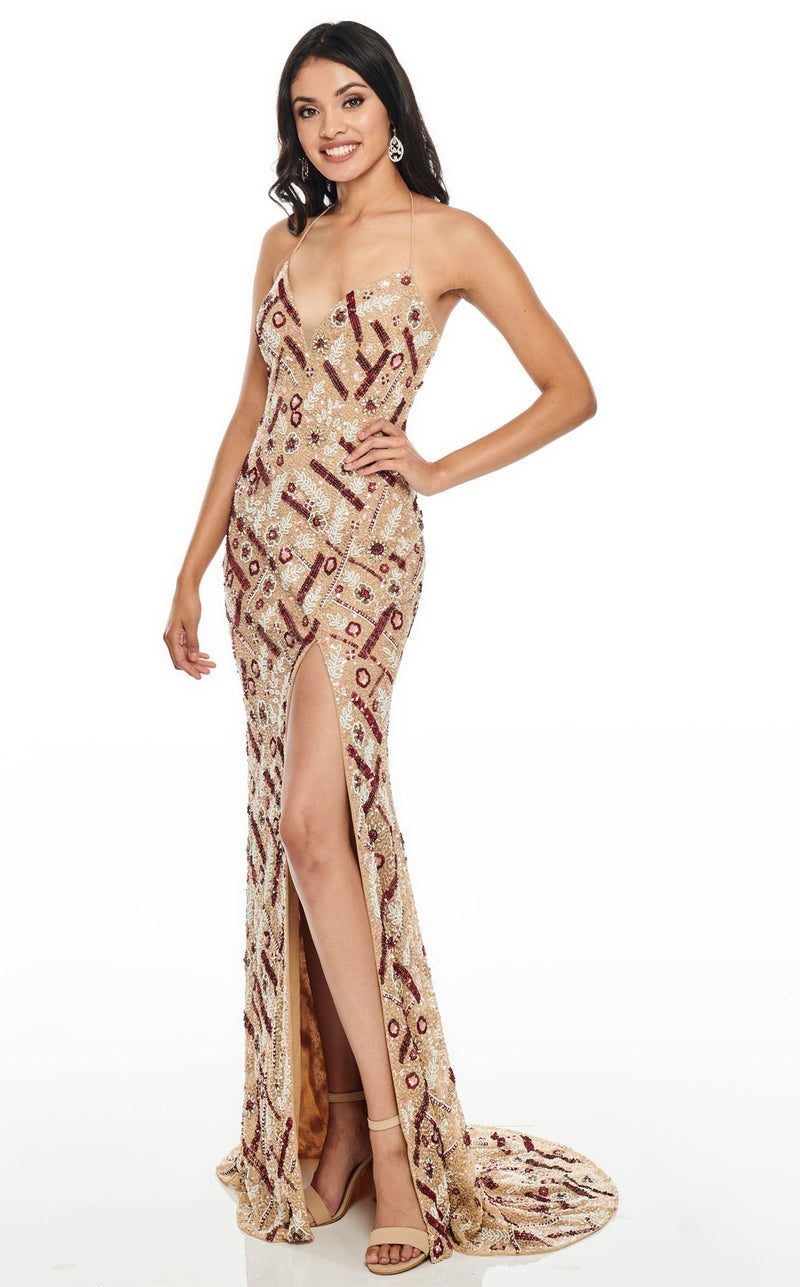 Rachel Allan 7117 Dress Champagne-Multi