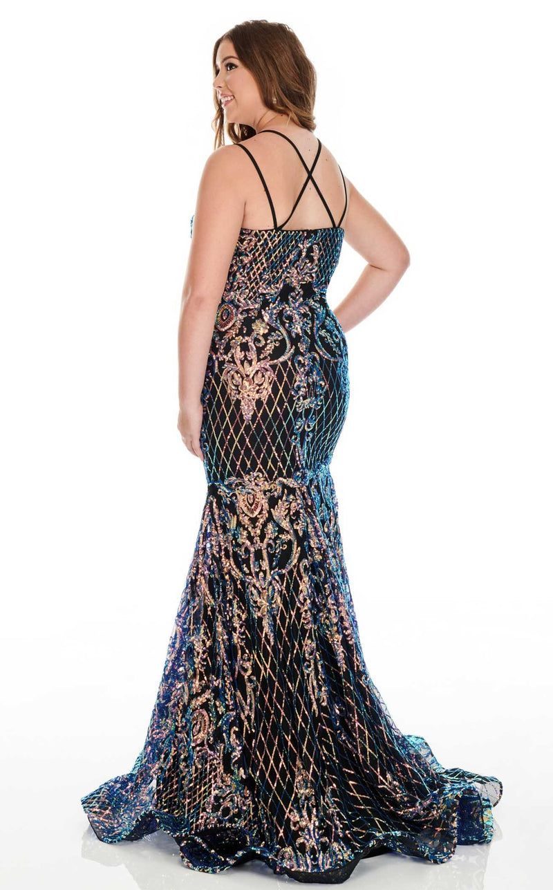 Rachel Allan 7216 Dress Black-Iridescent