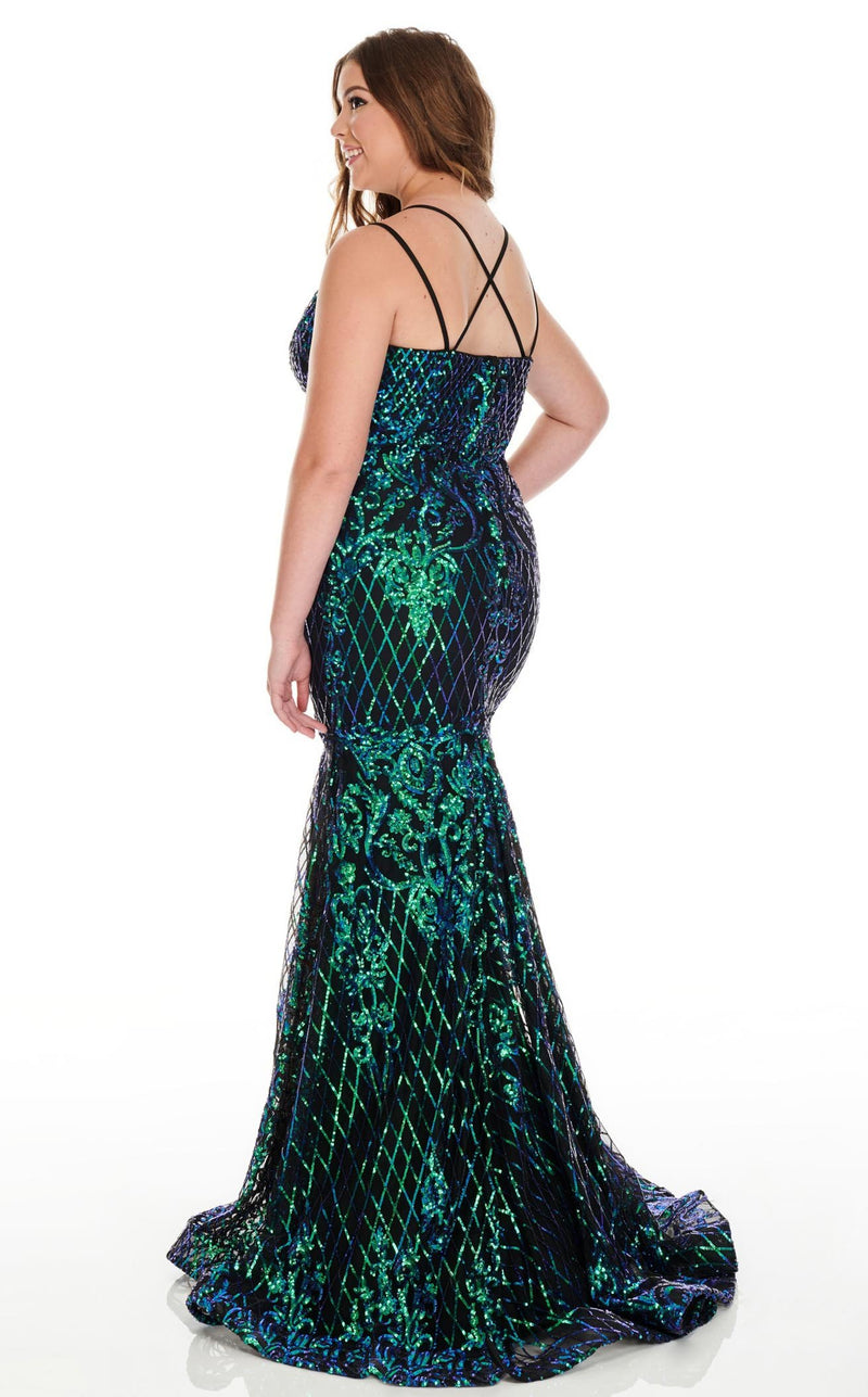Rachel Allan 7216 Dress Teal-Iridescent