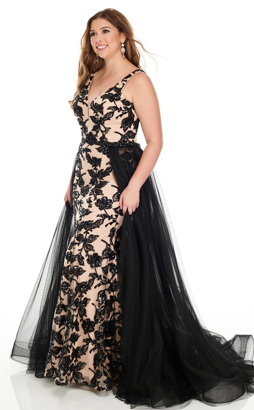 Rachel Allan 7228 Dress Black-Nude