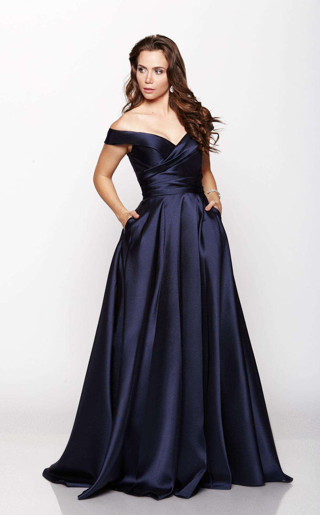 Off The Shoulder Ruched Evening Gown By Milano Formals Model E2046