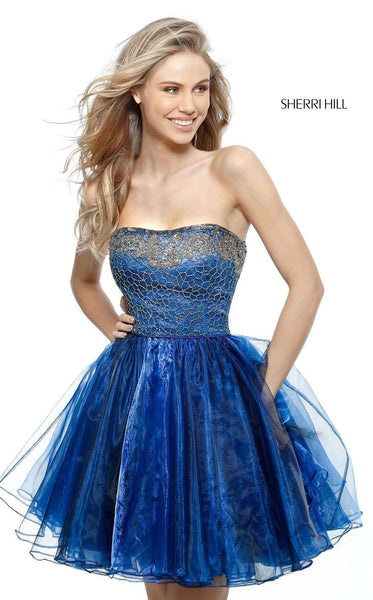 Sherri Hill 51398 Navy/Gun Metal