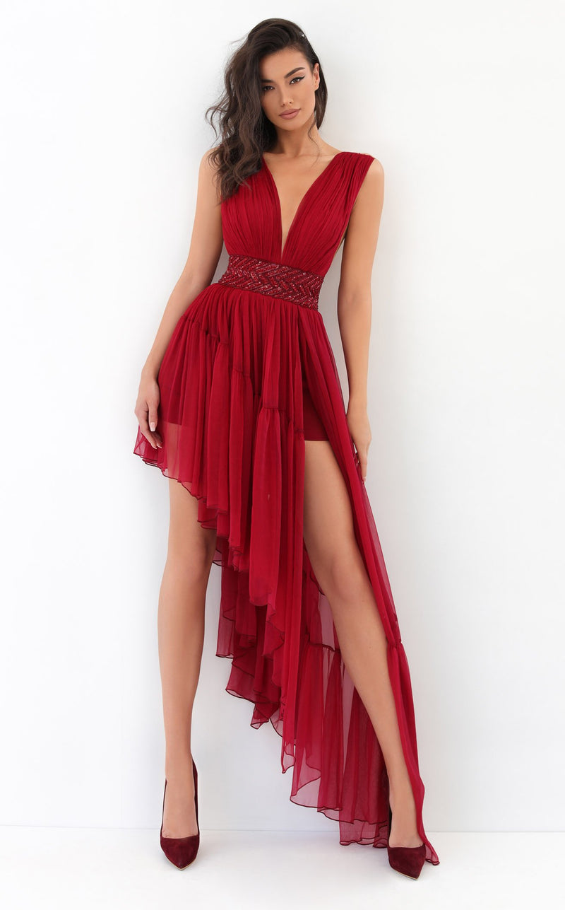 Tarik Ediz 93846 Dress Red