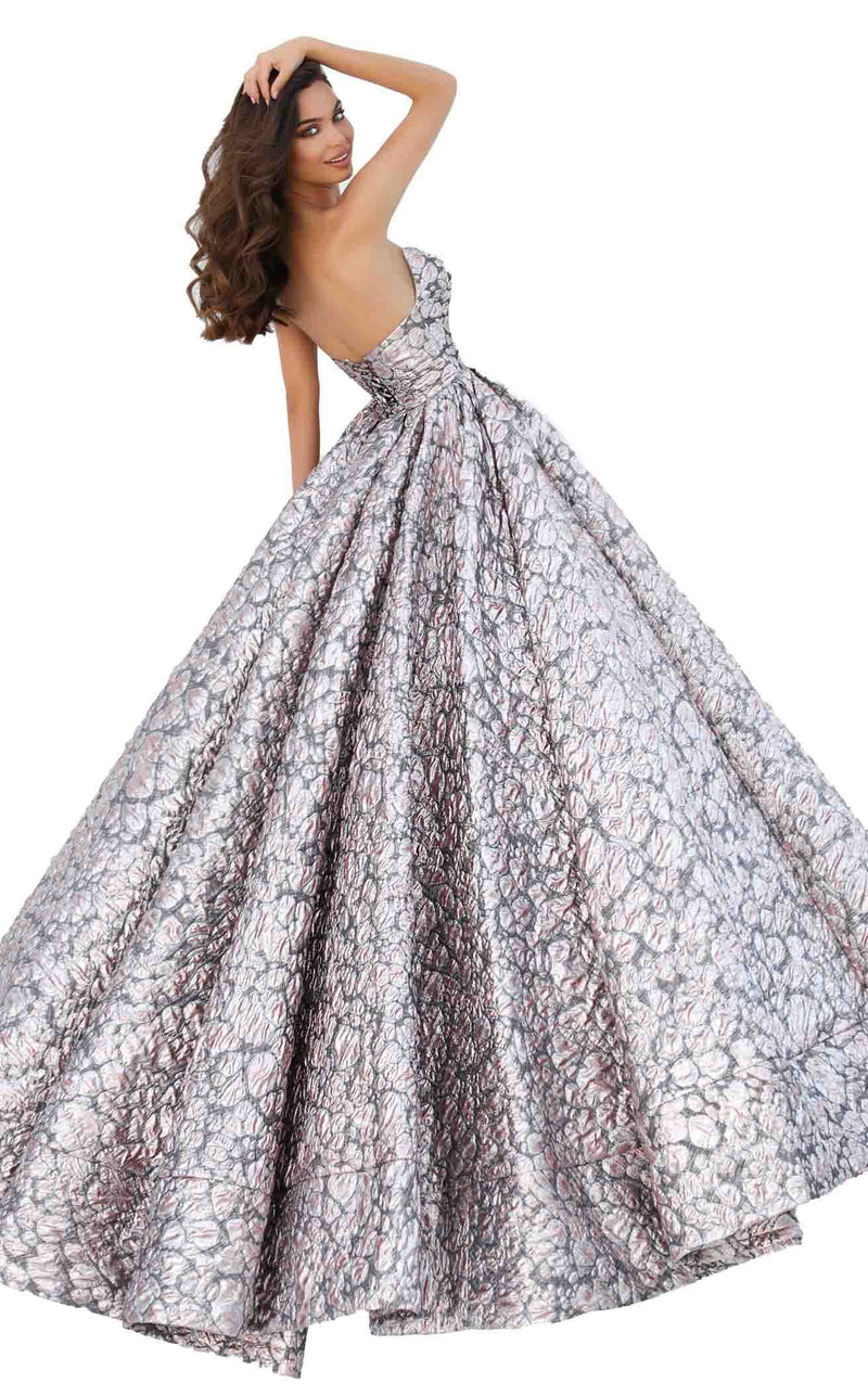 Tarik Ediz 93878 Dress Silver-Salmon