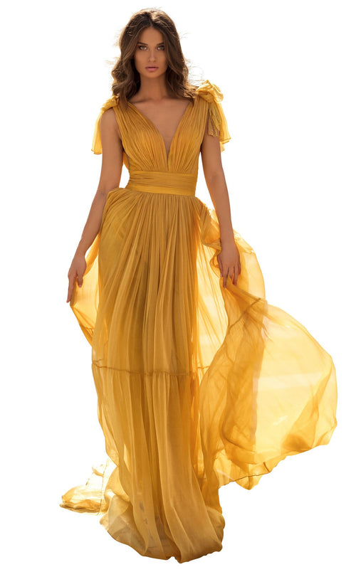 Tarik Ediz 93897 Dress Yellow