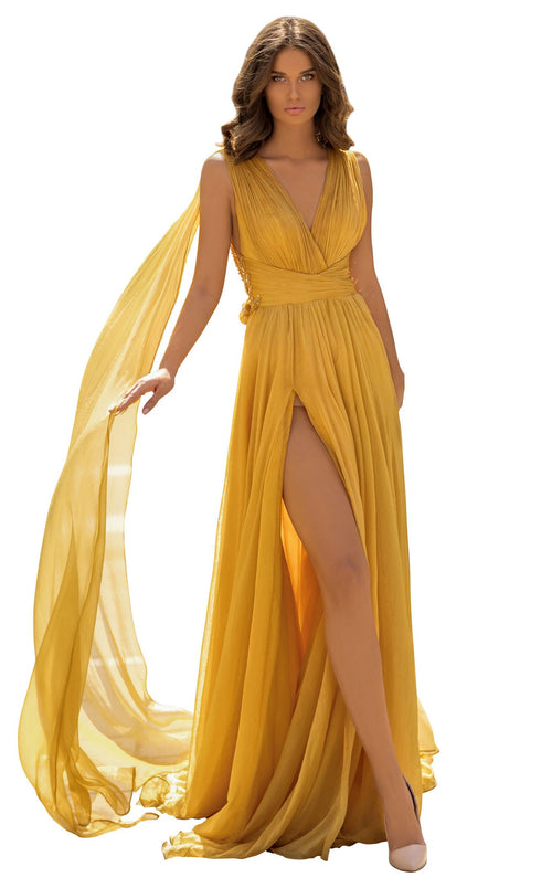 Tarik Ediz 93919 Dress Yellow