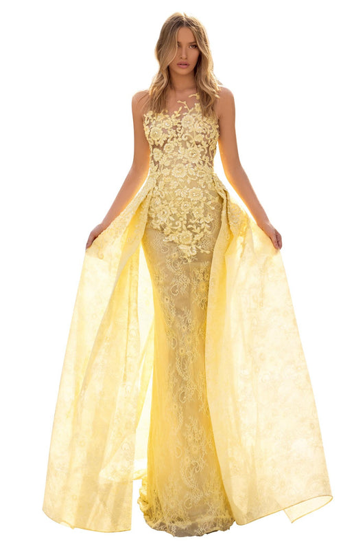 Tarik Ediz 93930 Dress Yellow