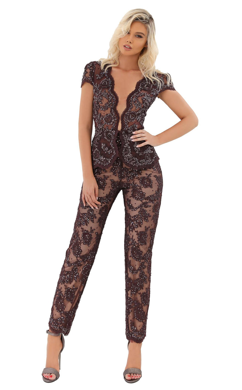 Tarik Ediz 93937 Jumpsuit Brown