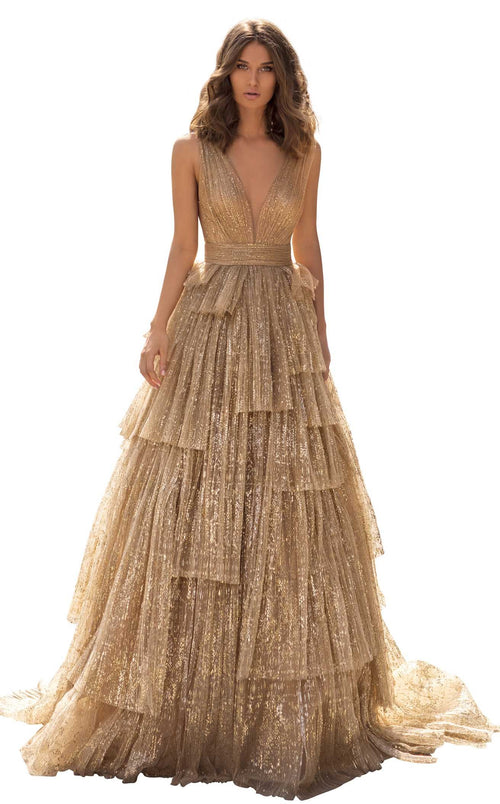 Tarik Ediz 93943 Dress Gold