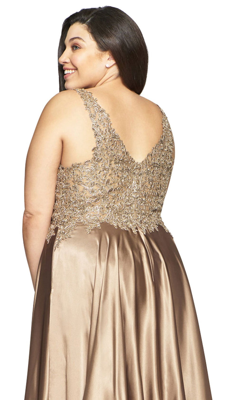 Faviana 9494 Dress Mocha-Gold