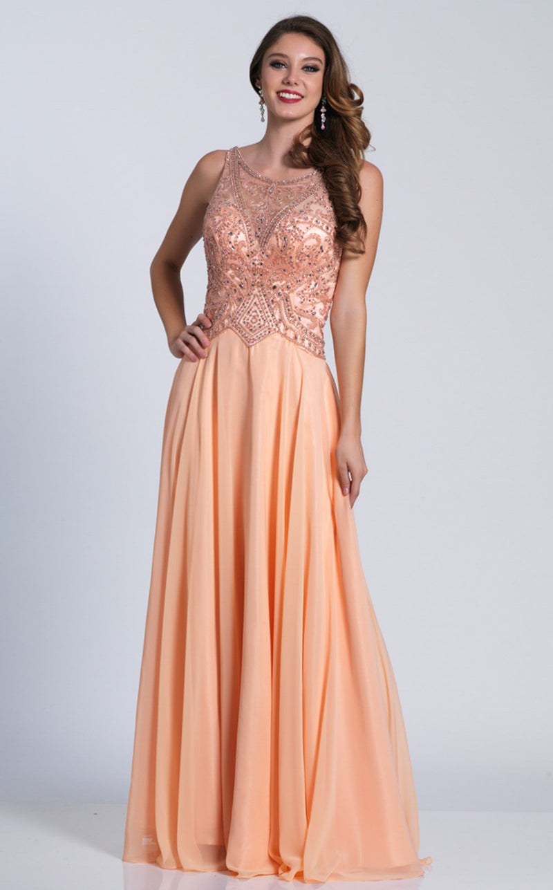 Dave and Johnny A4763 Dress Peach