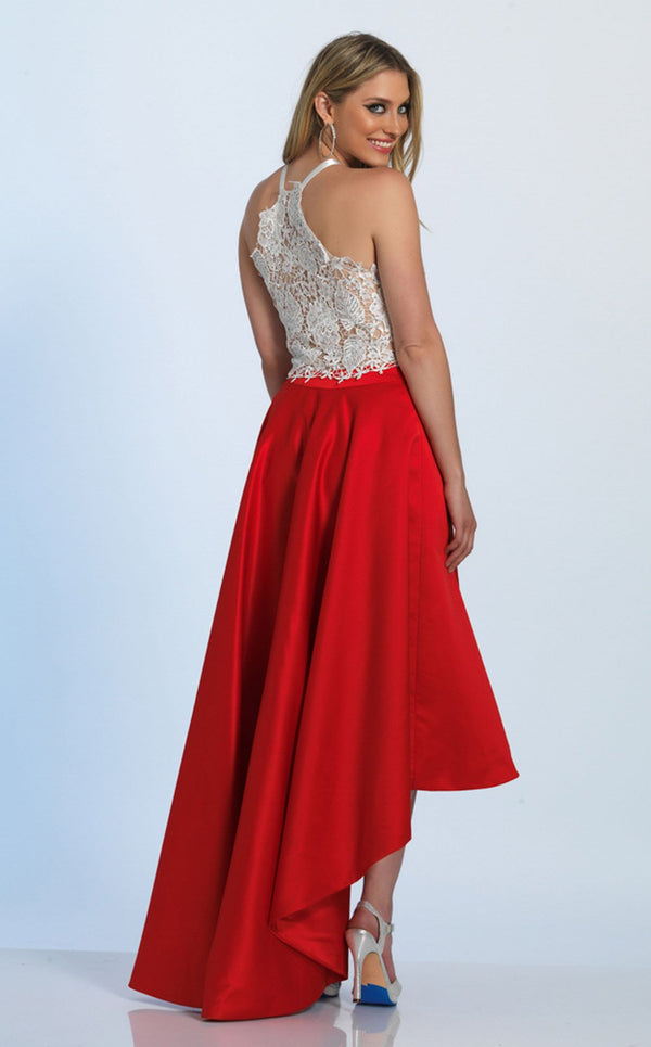 Dave and Johnny A4825 Dress Red-Ivory