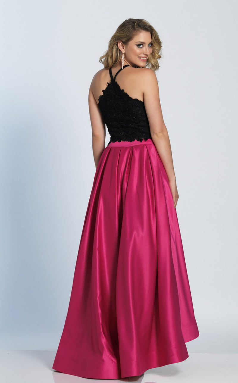 Dave and Johnny A5345 Dress Black-Fuchsia