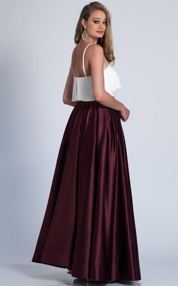 Dave and Johnny A6143 Dress Burgundy-White