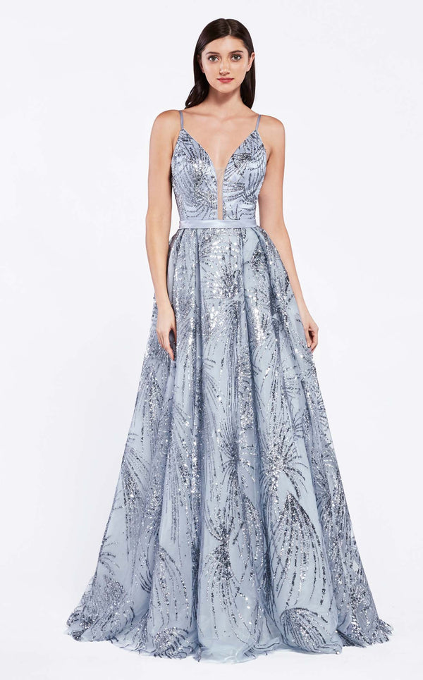 Cinderella Divine CZ0016 Dress Metallic-Blue