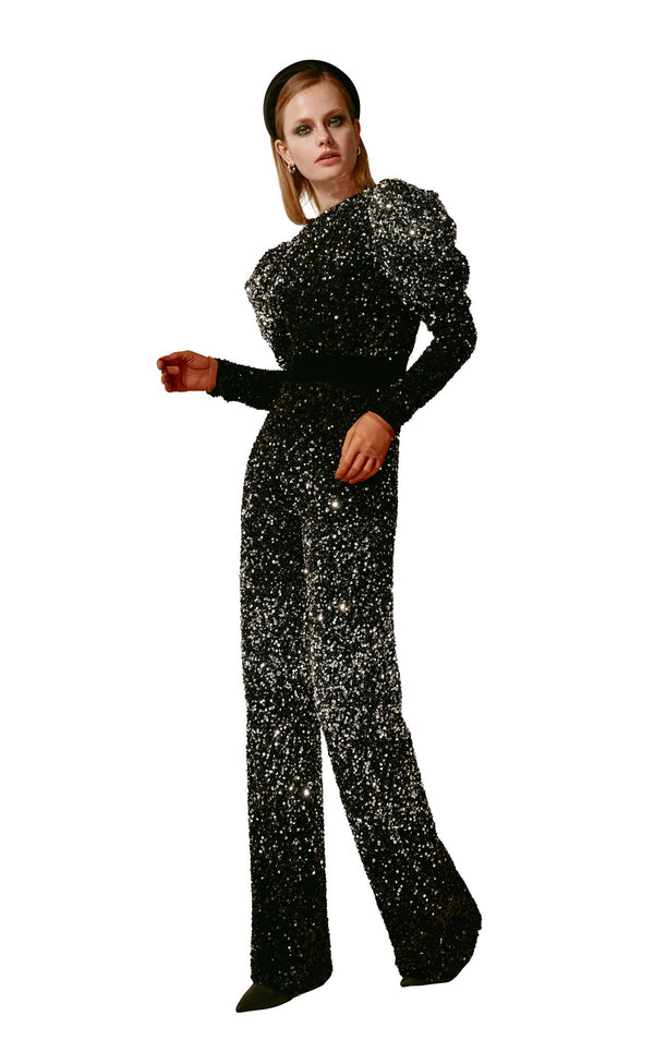 Beside Couture ED1656 Jumpsuit Black-Silver