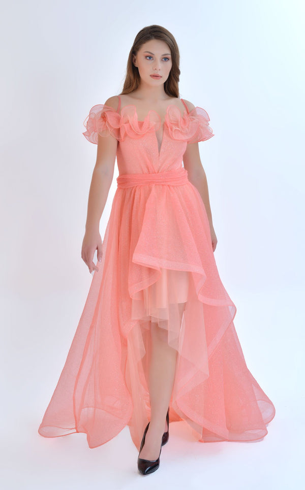 Odrella ELT1042 Dress Coral