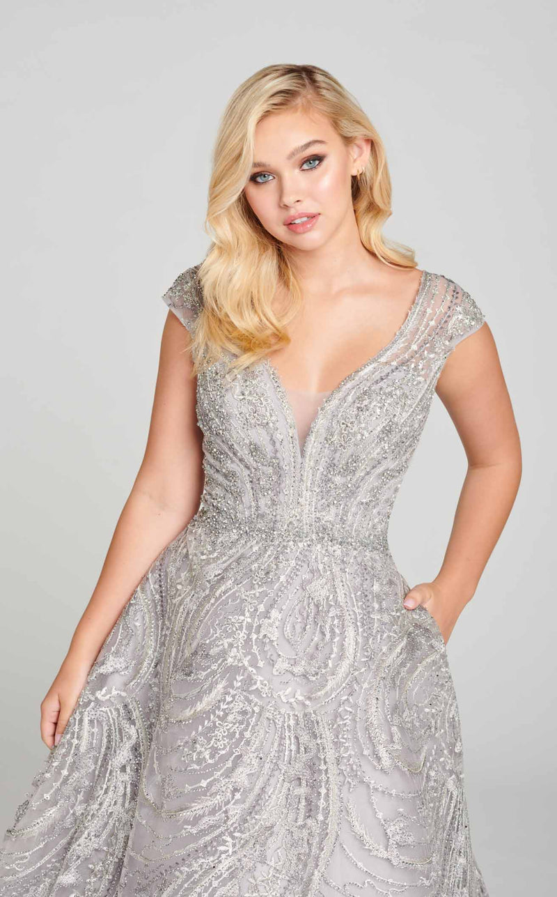 Ellie Wilde EW121021 Dress Heather-Silver