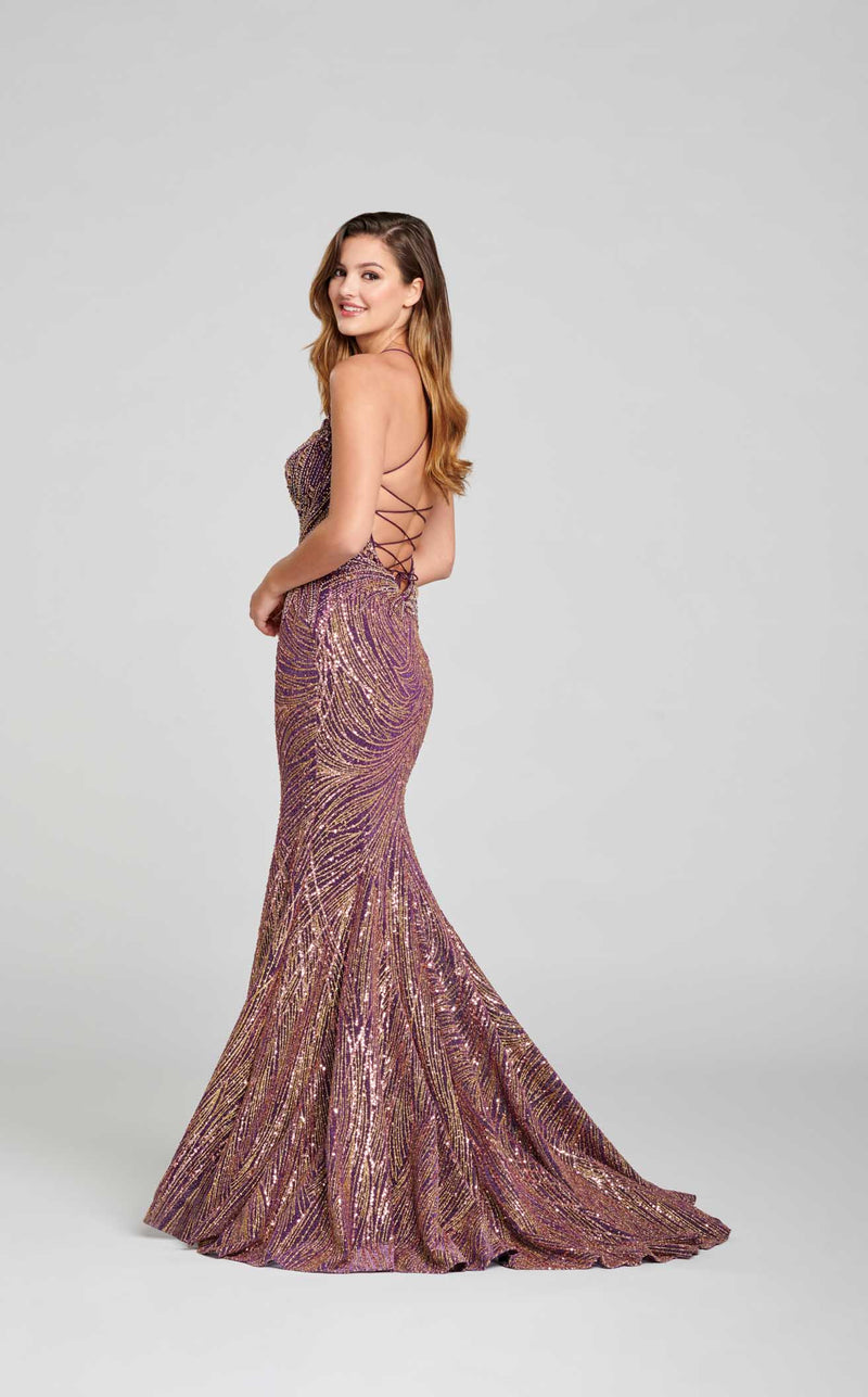 Ellie Wilde EW121049 Dress Purple-Gold