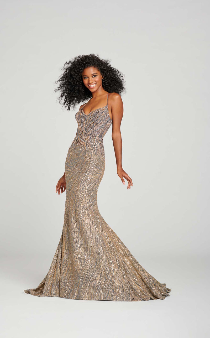 Ellie Wilde EW121049 Dress Silver-Gold