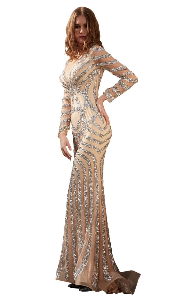 Jadore J15013 Dress Champagne-Silver