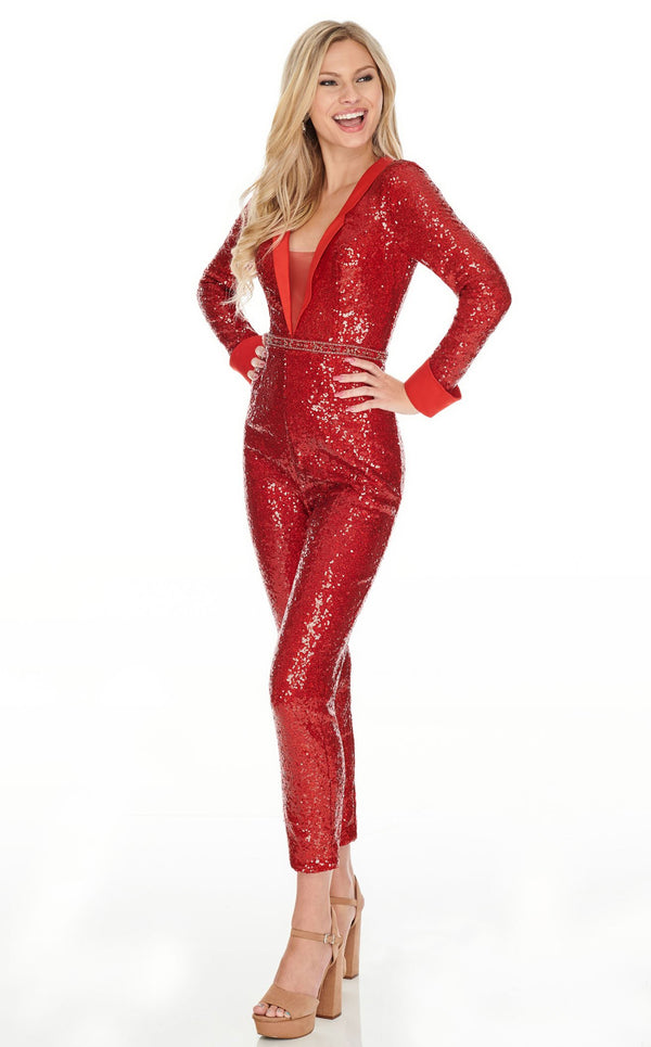 Rachel Allan L1279 Jumpsuit Red