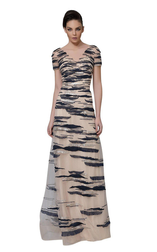 Modessa Couture M18024 Nude-Navy