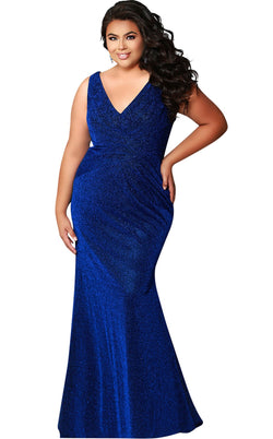 Sydneys Closet SC7263 Dress Blue-Shimmer