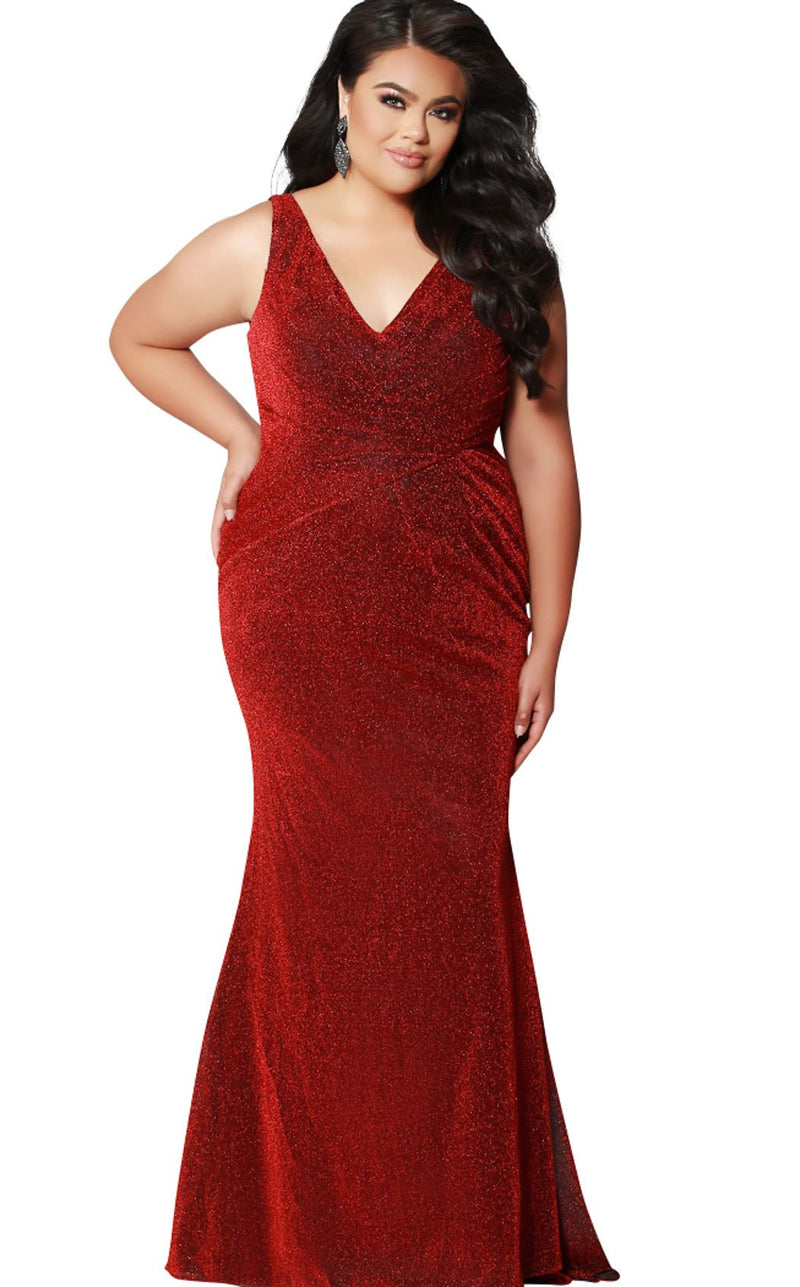 Sydneys Closet SC7263 Dress Red-Shimmer