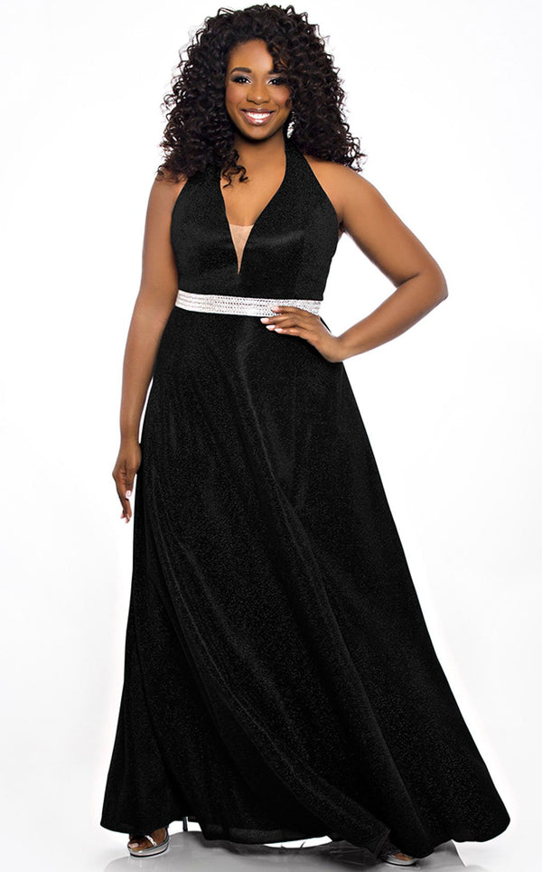 Sydneys Closet SC7289 Dress Black-Shimmer