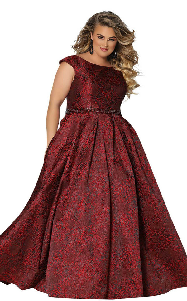 Sydneys Closet SC7292 Dress Burgundy