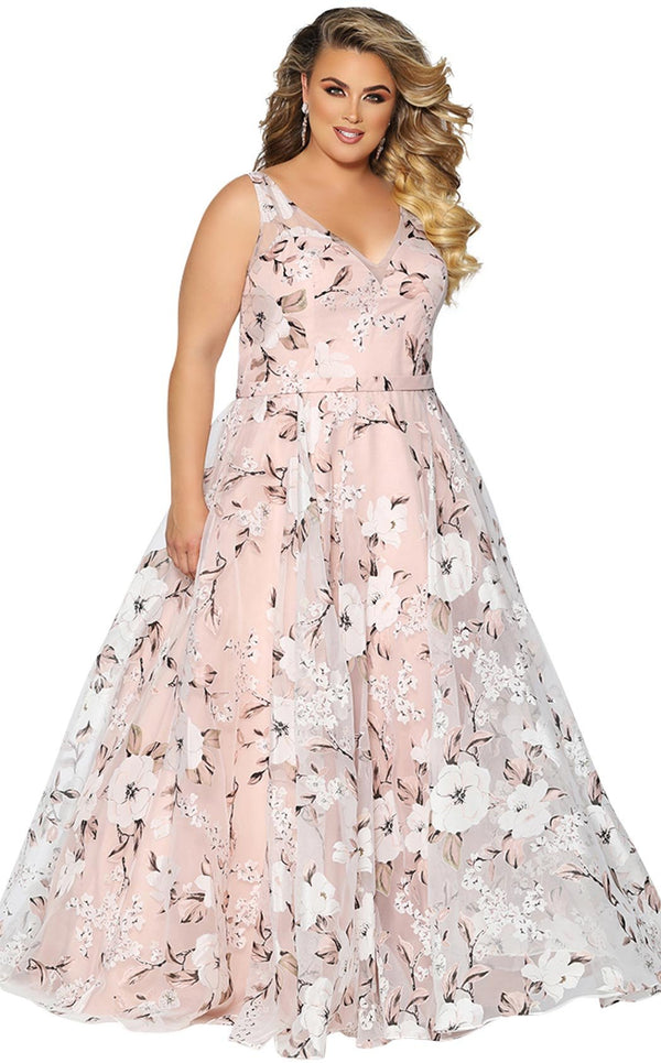 Sydneys Closet SC7295 Dress Blush-Floral